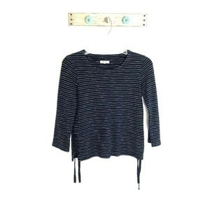 Madewell XS Navy Blue Striped Lace Up Top Cotton